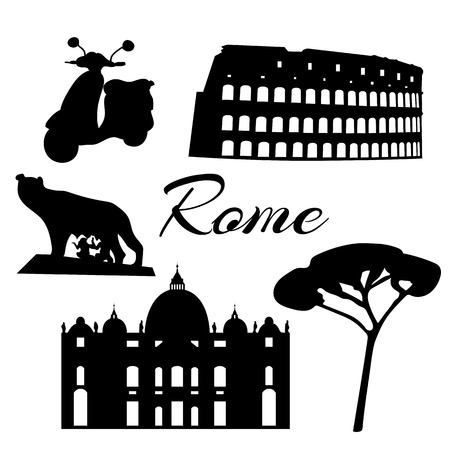 amphitheater: Rome flat icons. Colosseum, tree wolf twins Vector Illustration