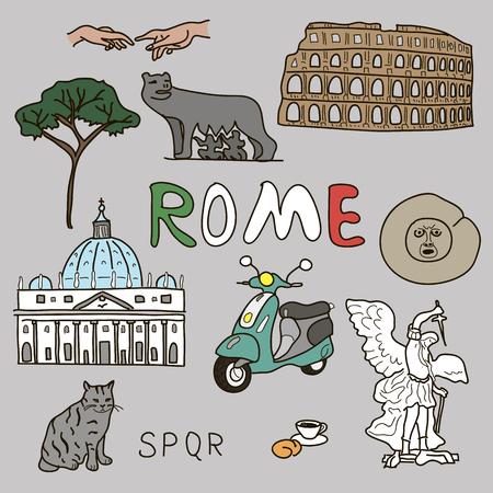 spqr: color doodle set of Rome symbols Vector illustration Illustration