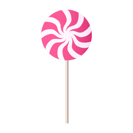 contemporary taste: Spiral candy. Vector illustration of pink and white lollipop. Illustration