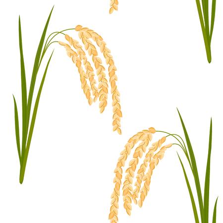 쌀과 원활한 패턴입니다. 나뭇잎과 흰색 배경에 쌀의 spikelets. 벡터 일러스트 레이 션.