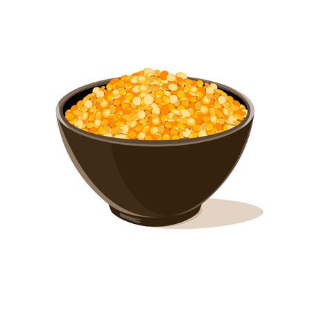 Bowl full of yellow lentils. Vector illustration.