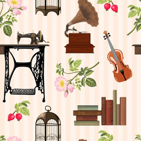 Seamless pattern with cosy vintage objects. Old sewing machine, violin, books, birdcage, gramophone, wild rose on striped background. Vector illustration. Vettoriali