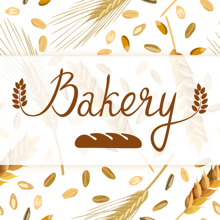 cereal plant: Bakery. Original handwritten. Can be used for flyers, posters and promo. Seamless pattern wheat and rye ears and grains on the background.