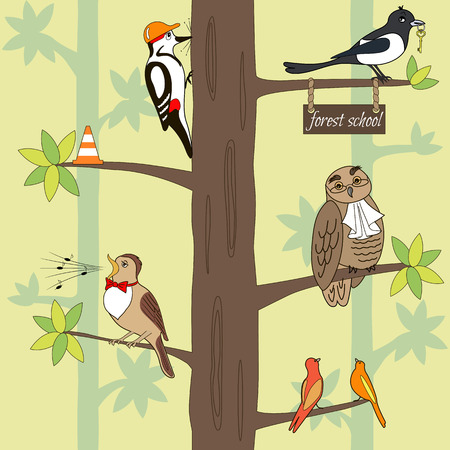 ruise�or: Seamless pattern cartoon birds on a tree. Owl, woodpecker, magpie, nightingale. Vector illustration, can be used for creating card or for wallpaper and textile.