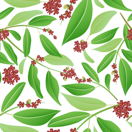 Floral seamless pattern sandalwood. Sandalwood tree branch with red flowers and green leaves. Vector illustration can be used in wallpapers, textile.
