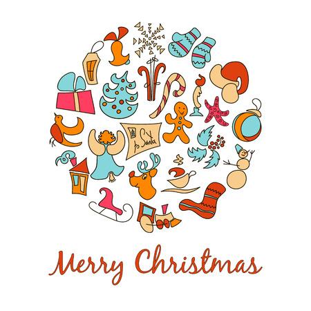 guirnaldas de navidad: Navidad decoraciones chuchería iconos en el fondo en forma de postal. ilustración vectorial en capas para la manipulación fácil y colorante de encargo. Holiday objetos de colección. Conjunto de iconos de Navidad y la decoración. Vectores