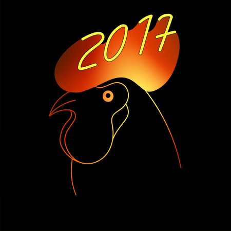 aglow: Flaming Zodiac Rooster with cockscomb. Vector illustration. 2017 New Year Symbol. Flamy Cock. Aglow silhouette on black backdround. Can be used at decoration, wallpaper, print, giftcards Illustration