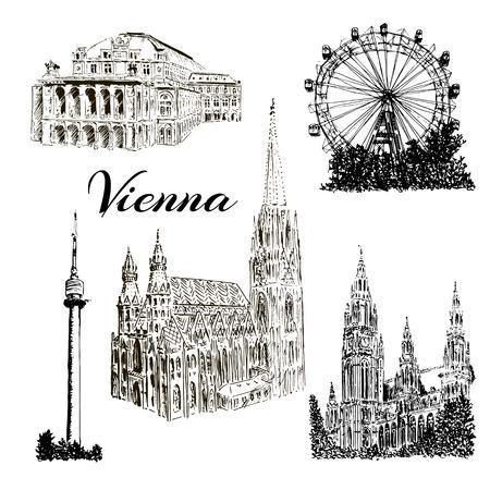 비엔나 기호. Donauturm, Stephansdom, 시청사, 프라 터, 비엔나 국립 오페라 하우스. 소시지 슈 타츠. 벡터 손 스케치 그림을 그려.