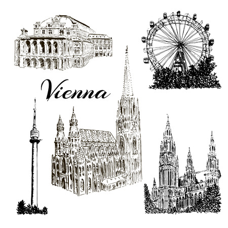 Set of Vienna symbols. Donauturm, Stephansdom, Rathaus, Prater, Vienna State Opera House. Wiener Staatsoper. Vector hand drawn sketch illustration.