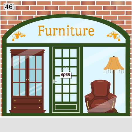 Cute vector illustration of furniture shop with a brick wall, large window display showcasing various furniture such as bookcase, armchair, cocktail table, standard lamp.
