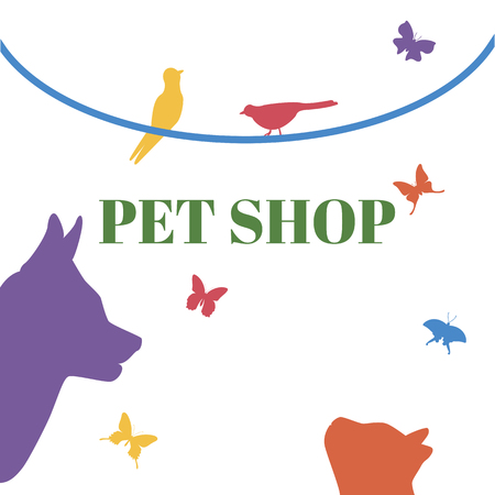 liana: Pets Vector Template. Cat head, dog head, birds, butterfly, liana. Could be use for pet shop, pet clinic, or others Illustration