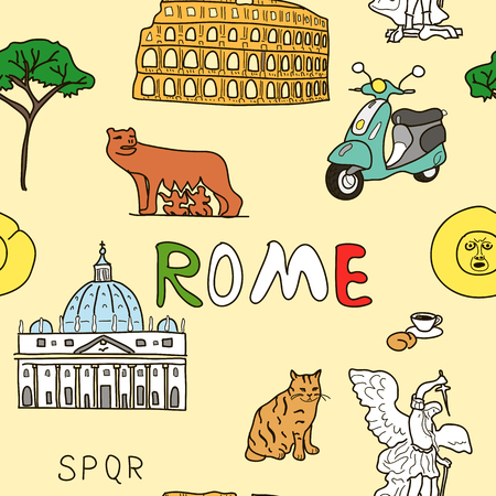 lupa: Cheerful color pattern set of Rome symbols. sant angelo, basilica, romul, Wolf, bocca della verita, scooter, cat, croissant, cappuccino pine tree