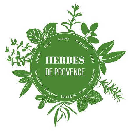 provence: Herbes de Provence flat silhouettes. Vector set of spice blend. Design for cosmetics, restaurant, menu, store, market, health care products.