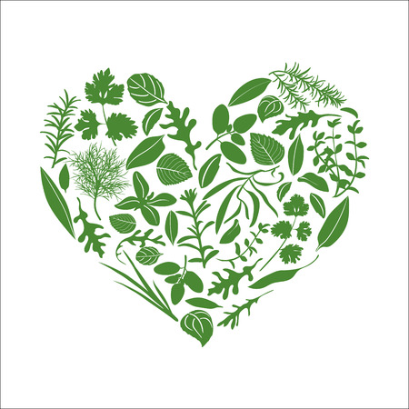 Floral heart made of herbs and flowers. Herbs in heart shape. Ready design for health care products, medicine emblem, eco food, farm store, menu, web, spa salon, greeting card, booklet