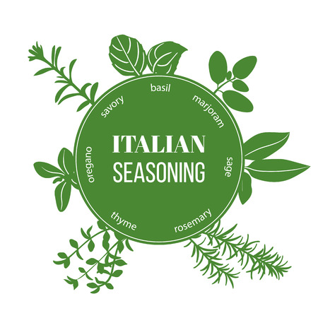 Italian seasoning flat silhouettes. Vector set of spice blend. Design for cosmetics, restaurant, menu, store, market, health care products. French cuisine, ready, icon, banner, web, tag, template