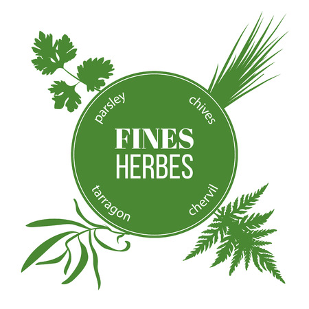 chives: Fines herbes flat silhouettes. Vector set of spice blend. Design for cosmetics, restaurant, market, menu, market, health care products. French cuisine, ready, icon, banner web tag template