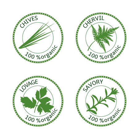 Set of herbs labels. 100 organic. Greenery collection. Savory, lovage, chives, chervil. Vector illustration. Round emblem for cosmetics, restaurant, store health care price tag label web