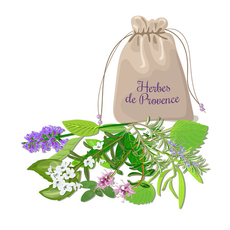 Herbes de provence sachet mix. Swatch pouch with herbs. Design for cosmetics, restaurant, store, market, natural health care products. Can be used as design, price tag, label, web, textile, emblem