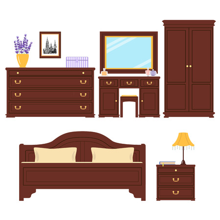 bedside: Set of Furniture for bedroom. Cute sleeping room. For advertising, real estate image, furniture shop. Bed, picture, chest of drawers, table lamp, dressing table, bedside table, wardrobe banquette