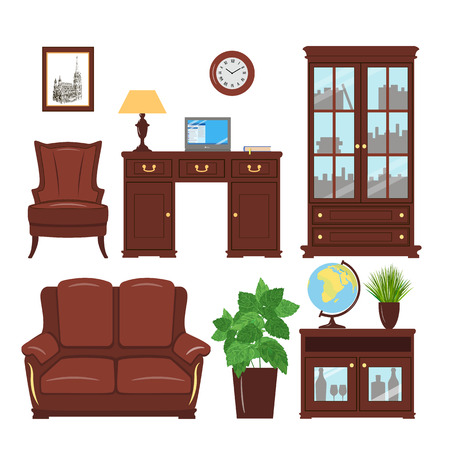home and office: Set of classic home office furniture elements for cabinet, library, parlour. Home working place with bookcase, armchair, sofa, picture, desk, leather furniture, reading lamp, cache pot, globe laptop