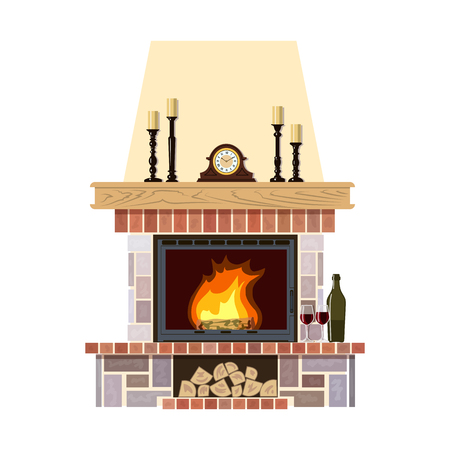 Flaming fireplace in the parlor. Cute and cozy burning hearth with clock, wine bottle and glasses, candlesticks, firewood. For postcards, greetings, prints, textile, web background, banner