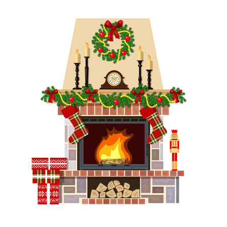 Flaming Christmas fireplace. Xmas decoration, flat vector illustration. Cozy room at new year eve with clock, gifts, candlesticks. For postcards, greetings, prints, textile, web background, banner Vettoriali