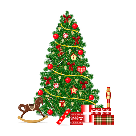 Beautiful decorated Xmas Tree isolated or Merry Christmas celebration. Garlands, gifts, toys, balls. For postcards, greetings, prints, textile web background banner