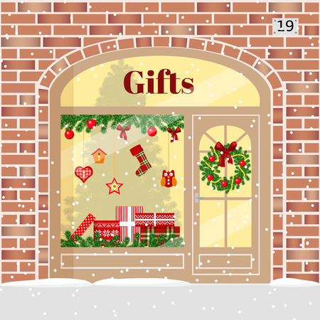 Christmas gifts shop (presents store). Decorated and illuminated brick facade with boxes, wreath, garland, balls, xmas tree, snowflakes. Vector illustration. For postcards prints banner. cozy building