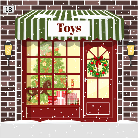 magasin de jouets de Noël (magasin de jouets) de façade. briques brunes. Décorée et illuminée vitrine confortable avec des coffrets cadeaux, jouets, casse-noix, cheval à bascule couronne, boules, arbre de Noël, des flocons de neige. Vector illustration