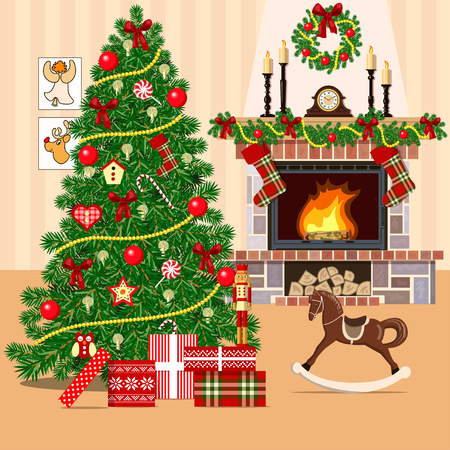 fireside: Christmas decorated room with xmas tree and fireplace. Flat style vector illustration. Illuminated cozy parlor with gift boxes, toys, rocking-horse, wreath, xmas tree, wallpapers, presents, pictures