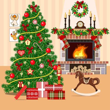 Kerst versierd kamer met kerstboom en open haard. Vlakke stijl vector illustratie. Verlichte gezellige salon met geschenkdozen, speelgoed, hobbelpaard, kroon, kerstmis boom, wallpapers, cadeautjes, foto's