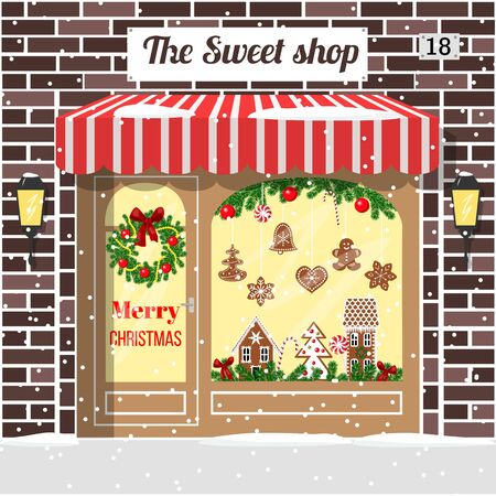 Christmas decorated and illuminated sweet shop (candy store, confectionery store). Cozy Brick building facade with entrance, awning, door, shopfront, gingerbread man, wreath, garland, vector, lamps