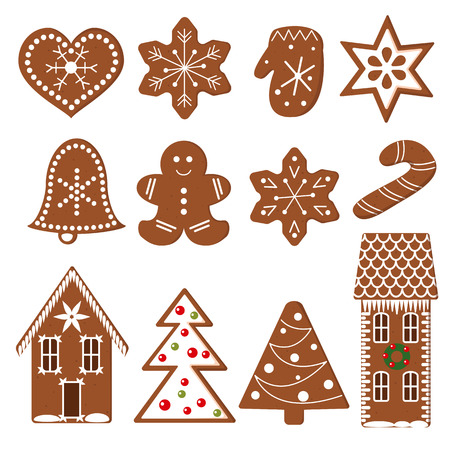 crunchy: Gingerbread Christmas Cookies. Set of funny decorated gingerbread figures. Xmas tree, snowflakes, cane, heart, star, bell, detailed house, mittens. Vector design elements for postcards, decoration Illustration