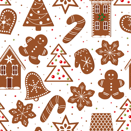 Gingerbread Christmas Cookies seamless pattern vector. Funny gingerbread figures. Xmas tree, snowflakes, cane, heart, star, bell, detailed house, mittens. Design elements for postcards, wrapping