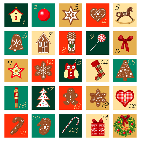 Christmas Advent Calendar hand drawn vector squared icon big set. Christmas icons. vector illustration. For postcards, greetings, wrapping, wallpaper, invitition, background