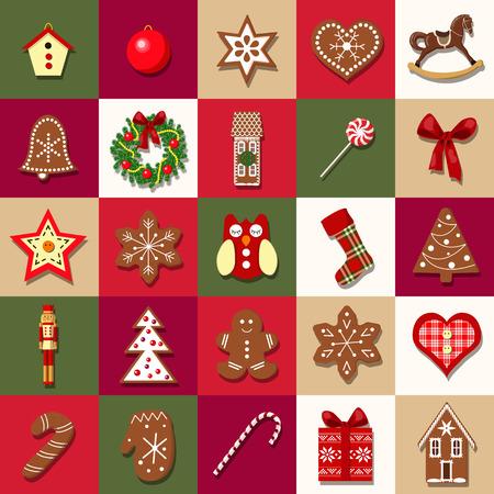 다른 개체와 크리스마스 출현 달력입니다. 크리스마스 트리 장식입니다. 크리스마스 아이콘의 집합입니다. 벡터 일러스트 레이 션. 엽서, 인사말, 포장 일러스트