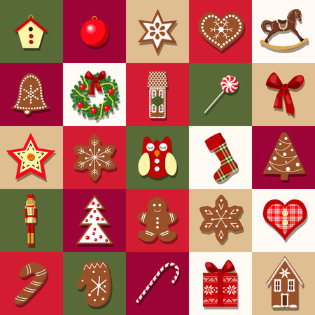 Christmas Advent Calendar with different objects. Christmas-tree decoration. Set of Christmas icons. vector illustration. For postcards, greetings, wrapping, wallpaper, invitation, background