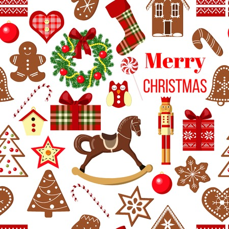 Christmas seamless pattern vector. Funny objects. Postcard background. Funny figures. Xmas tree, snowflakes, cane, heart, star, bell, house, mittens, toys, wreath. For wallpaper, packing, wrapping Ilustrace