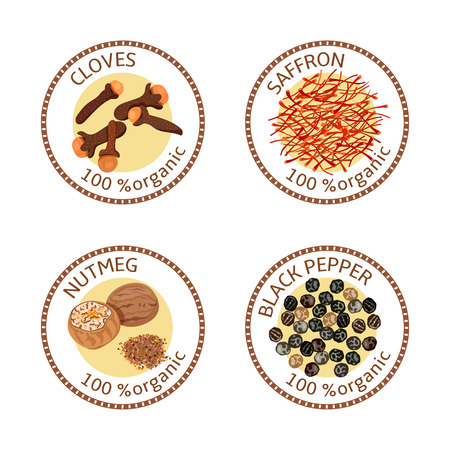 nutmeg: Set of herbs labels. 100 organic. Spice collection. Vector illustration. Cloves, black pepper, nutmeg, saffron Brown stamps. Round emblem for cosmetics, restaurant, health care store, price tag