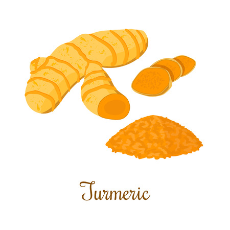Turmeric root with powder isolated on white background. Vector illustration. Spice symbol. For food design, restaurant, store, market, health care products. Can be used as price tag, label Çizim