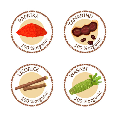 liquorice: Set of herbs labels. 100 organic. Spice collection. Vector illustration. Paprika, tamarind, licorice wasabi Brown stamps