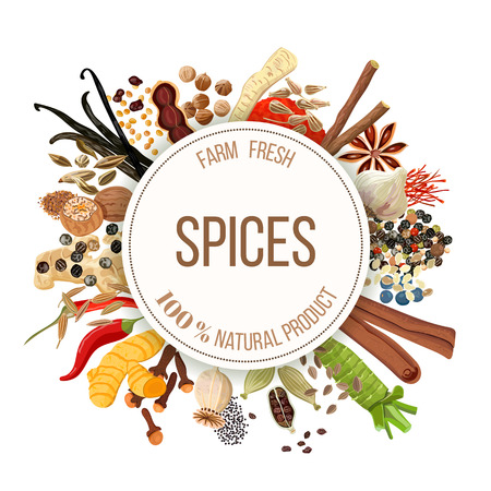Culinary spices big set with round emblem. Bunch of cooking seasonings. For cosmetics, restaurant, store, market, natural health care products. Can be used as design, price tag, label