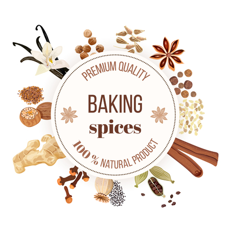 Backing spices big set with round emblem. Bunch of cooking seasonings. For culinary, cosmetics, bakery, bake shop, bakehouse, natural health care products. Can be used as design, price tag, label