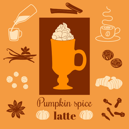 cafe latte: Pumpkin spice latte. Vector illustration with pumpkins, nutmeg, ginger, cloves, cinnamon, allspice, star anise, coffee cap, whipped cream and text on ginger background. For menu, cafe, tag, label
