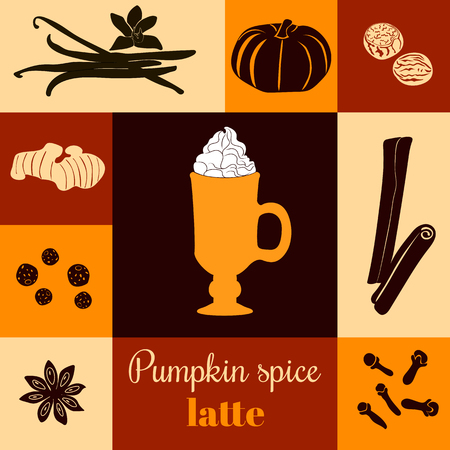 cloves: Pumpkin spice latte. Vector illustration with pumpkins, nutmeg, ginger, cloves, cinnamon, allspice, star anise, coffee cap, whipped cream on ginger background. Black silhouettes. For menu, tag, label