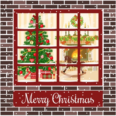 xmas background: Christmas room with fireplace and xmas tree through the window.Vector illustration. Brown bricks. Illuminated and decorated living room with gifts, toys, xmas tree. For postcard, greetings, poster
