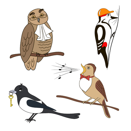 jabot: Set of cartoon birds. Owl, woodpecker magpie nightingale Illustration