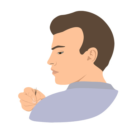 Alopecia. Young bald-headed man with a tuft of hair in fingers. Vector illustration.