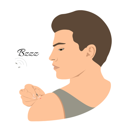 Mosquito bites young man. Shoulder, arm, angry fly Vector illustration