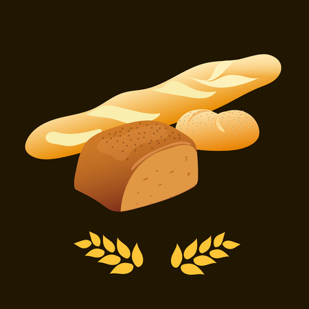 rye: Rye bread, french baguette, wheat bread Vector illustration